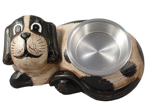 Hand Carved Wooden Dog food/drink bowl holder