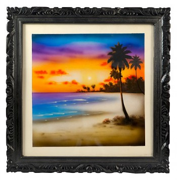 Framed Picture of a beautiful seascape in a handcarved frame