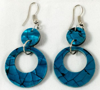 Earrings - shell hoop blue