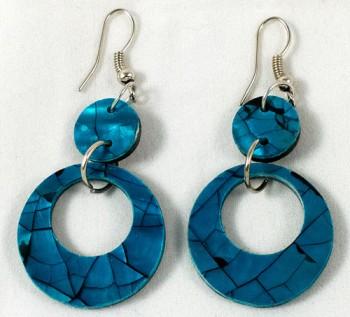 Earrings - shell hoop blue