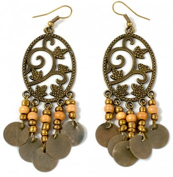 Earrings - metal patterned plant
