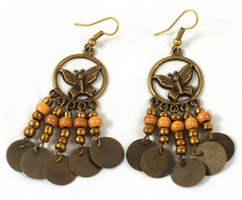 Earings - metal patterned butterfly