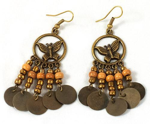 Earings - metal patterned butterfly