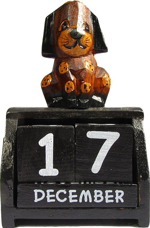 Hand Carved Wooden Perpetual Dog Calendar