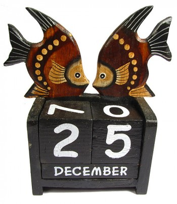 Hand Crafted Wooden Perpetual Double Fish Calendar