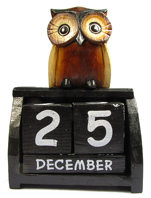 Hand Carved Wooden Perpetual Owl Calendar