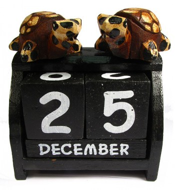 Hand Carved Wooden Perpetual Double Turtle Calendar