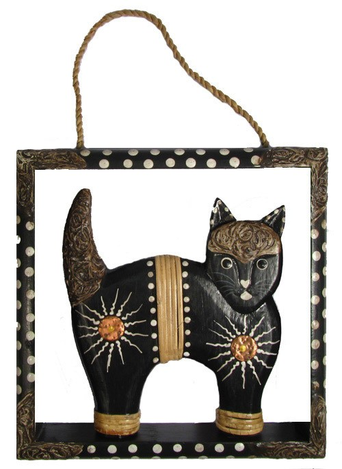 Hand Carved Wooden Painted Cat Wall Hanging