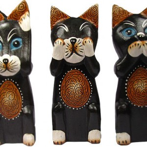 Hand Carved Wooden Set of 3 Cats: see no evil, hear no evil, speak no evil