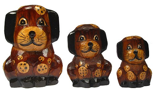 Set of 3 Hand Carved Wooden Dogs