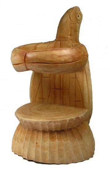Hand Carved Wooden Single Turtle Wine Bottle Holder