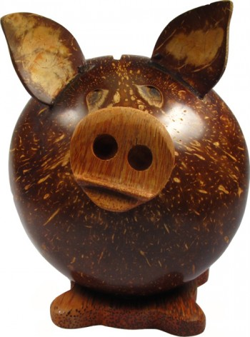 Hand Carved Pig Money Box (Small)