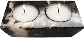 Black Marble 2-Hole Candle Holder