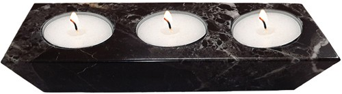 Black Marble 3-Hole Candle Holder