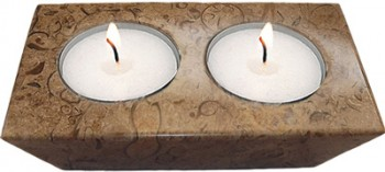 Fossil-Stone 2-Hole Candle Holder
