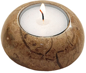 Fossil-stone D-Shape Candle Holder