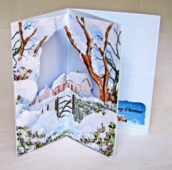 3D Corner Handmade Christmas Card - Winter Farm