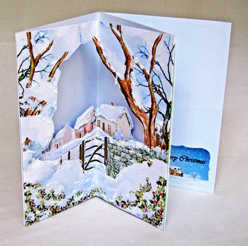 3d Corner Handmade Christmas Card Winter Farm
