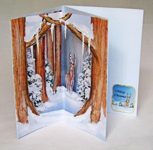 3D Corner Handmade Christmas Card - Reindeer