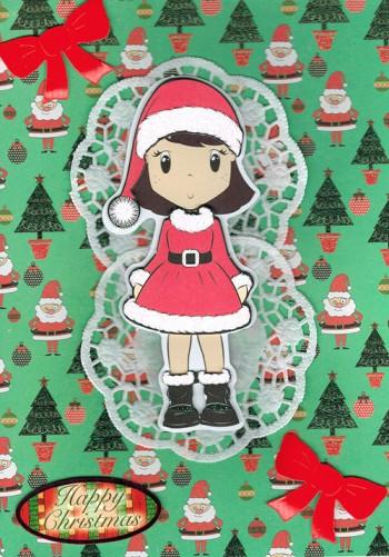 Handmade Christmas Card - Little Snow Girl