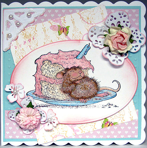 Handmade Greeting Card for any Occasion – House Mouse with a piece of cake