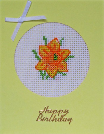 Handmade Floral Cross Stitch Yellow Base Birthday Card with 1 daffodil