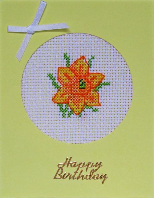 Handmade Floral Cross Stitch Yellow Base Birthday Card with 1 daffodil