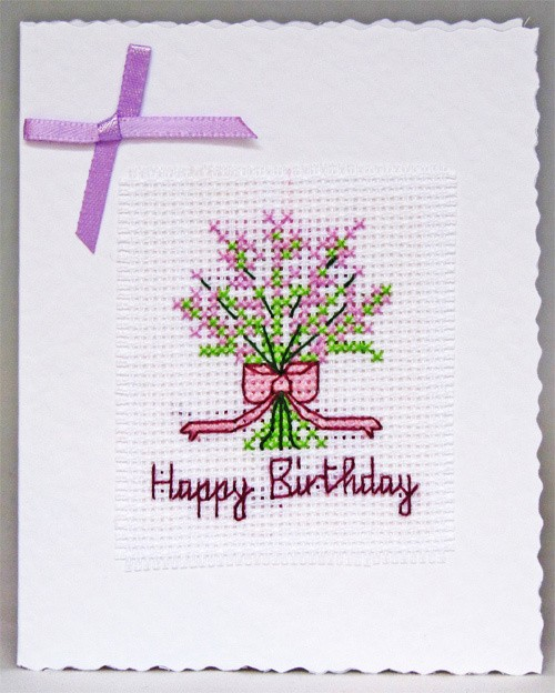 Handmade Floral Cross Stitch White Base Birthday Card with 1 pink ribboned bouquet