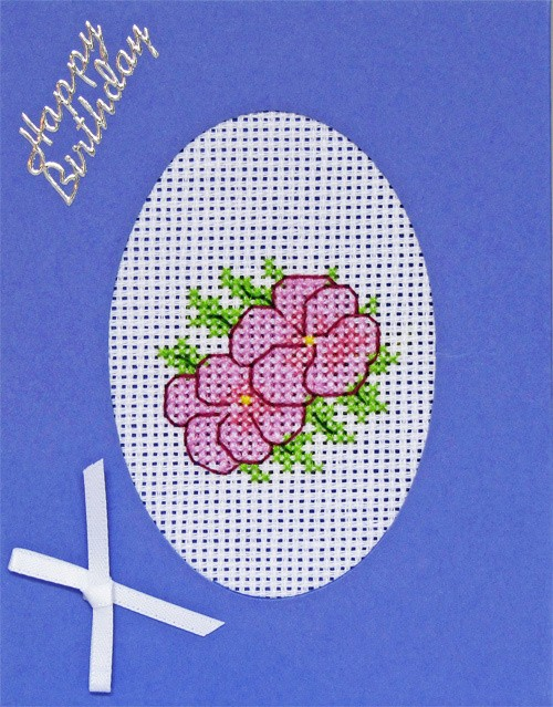 Handmade Floral Cross Stitch Lavender Base Birthday Card with 2 lilac pansies
