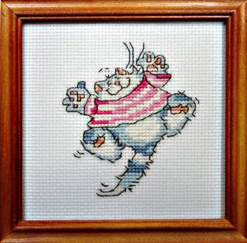 Framed Cross Stitch Embroidery picture of a cat in a red dress