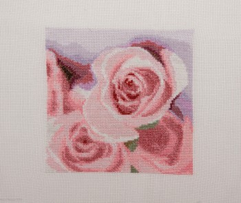 Cross Stitch Embroidery picture of roses for framing