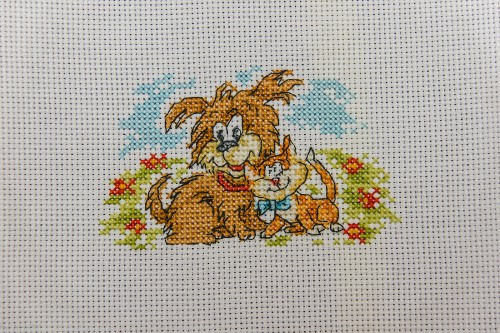 Cross Stitch Embroidery picture of a cat and a dog for framing