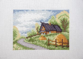 Cross Stitch Embroidery picture of the countryside for framing