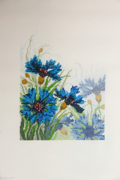 Cross Stitch and Bead Embroidery picture of cornflowers for framing