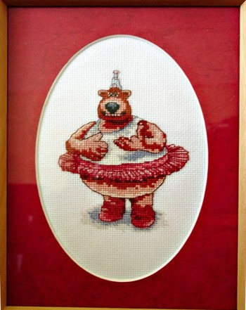 Framed Cross Stitch Embroidery picture of a big bear in a dress