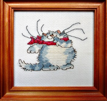 Framed Cross Stitch Embroidery picture of a cat wearing a red scarf
