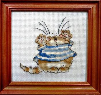 Framed Cross Stitch Embroidery picture of a cat in a blue dress