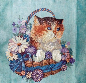 Tapestry Cushion Cover with a kitten in a basket with flowers