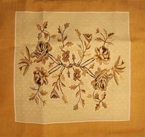 Tapestry Cushion Cover with a Yellow-Brown Flowers Pattern