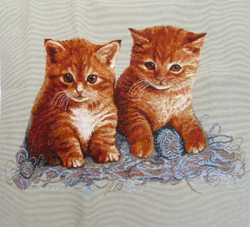 Tapestry Cushion Cover with two cute red kittens
