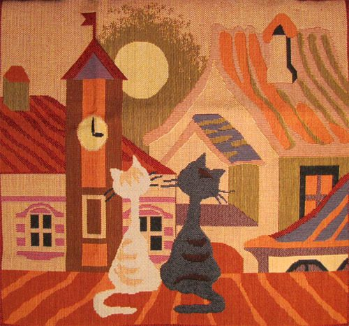 Tapestry Cushion Cover Cat's Life - Spring