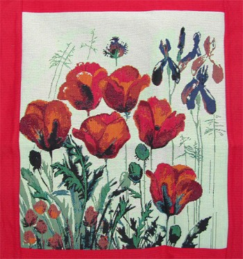 Tapestry Cushion Cover Red Poppies