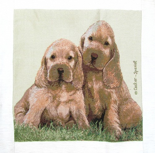 Tapestry Cushion Cover with 2 Cute Puppies