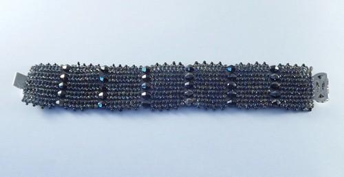 Grey-blue Bead flat bracelet