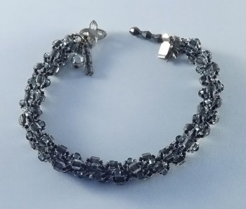 Grey Bead Spiral Bracelet