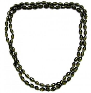 Necklace grey oval crystal bead