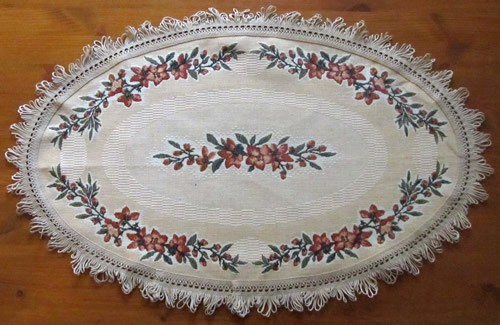 Table Mat Oval Shape Yellow Floral Pattern