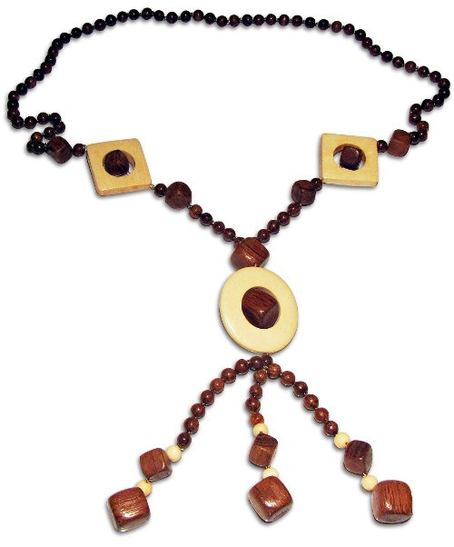 Fancy necklace made from wooden details and beads
