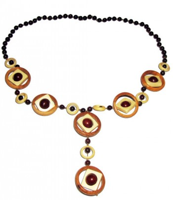 Fancy necklace made from wooden beads, rings and details