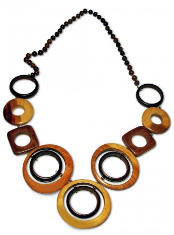Fancy necklace made from wooden rings and beads
